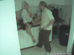 Couple caught fucking in the office kitchen