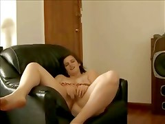 Horny Fat Chubby masturbating and cumming on her couch