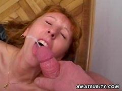Redhead amateur Milf double blowjob, anal and double facial cumshots