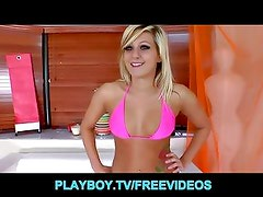 Blonde teen with a perfect round ass picks up a boy toy