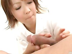Adorable Nurse Miriya examines her patients cock