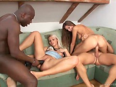 Kia Winston and Friends in Interracial Foursome