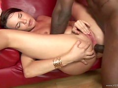 Hot Teen Brunette Gets Interracial Anal Creampie