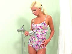 Soaked blond siren seduces you and makes you jerk off