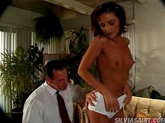 Rod Fontana fucks Lola L's pussy and makes her lick his balls afterwards