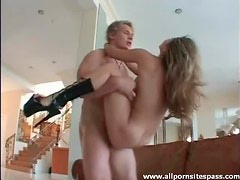 Squirting shiny boots slut fucked in the ass