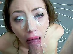Gagging cocksucker receives big facial