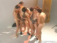 Retro video with slutty chicks sucking and riding big dicks