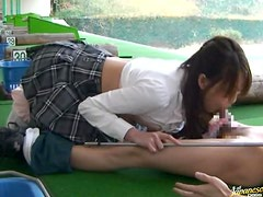Sexy golf instructor Natsumi Horiguchi seduces a man and fucks him
