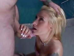 Rebecca Steel gets her face doused with warm jizz