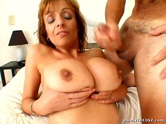 Busty MILF Gets Her Round Tits Creamed With Hot Jizz
