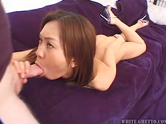 Asian bitch Jenny deepthroats a cock before taking it in her snatch