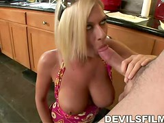 Sex hungry Riley Evans getting fucked hard in the kitchen