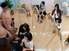 Pretty Japanese artists suck their models' cocks in the studio