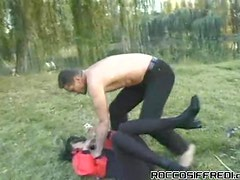 Chick Fucked In The Ass Outdoors On The Grass.
