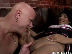A shemale cheerleader Desteny gets her ass fucked
