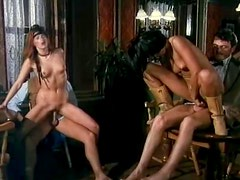 Two hot sluts moan crazily while their BFs fuck their tight holes