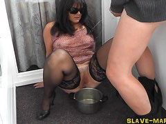 Slutwife gets pissed on on balcony