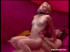 Skinny beauty in sexy collar takes cock