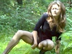 Sexy stockings girl pisses outdoors