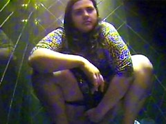 Chubby girl pees on hidden camera