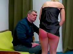 Over the knee spanking for bare ass