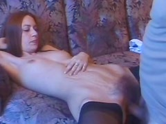 Lanky chick with pussy hair fucked