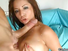Milf with big boobs gets a hard bone to suck