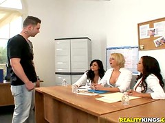 Brianna Beach And Her Friends Abuse One Single Nude Male