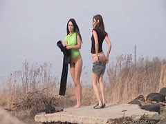 Hot Girlfriends Going Lesbian Outdoors
