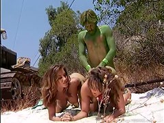 Brooke Ashley and Leanna Heart In An Outdoor Threesome