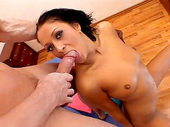 Admirable Green Eyed floozy deeptroats & receives full load in mouth