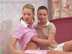 Two lustful lesbians moan with pleasure while licking each other's holes