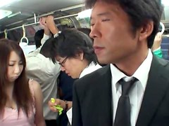 Hot Japanese girl gettting fucked deep in the bus