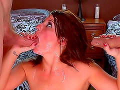 Cumshots rain down on double penetration girl