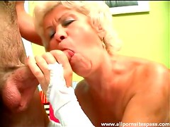 Old lady turns him on with her sexy lingerie