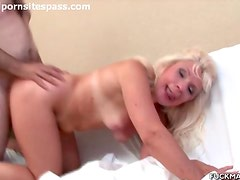Old guy fucks old blonde from behind