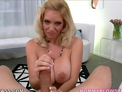 Sexy Blonde mamma blowing