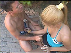 Andreia and Flavio tranny dicking dude onto video