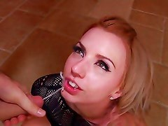 Lexi Belle gets her face drizzled with thick cum