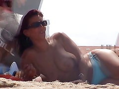 brunette french topless incredible tunesia beach nude