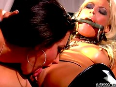 Two Latex Wearing Whores Destroy Each Other's Holes