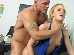 Young Riley Rey hardcore office sex