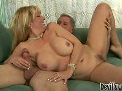 Horny blond milf Olivia Parrish gets balled on the couch