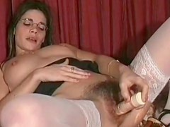 Hairy nerd pussy masturbated with a toy