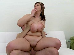 Fat tits take cumshot from his cock