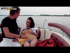 Blowjob from big tits girl on a lake