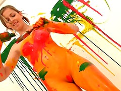 Teen paints her body all kinds of colors