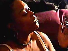 Chubby black girl smokes cigarette solo