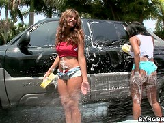 Car Wash Ass With Sweet Big Cock Blowjobs Foursome